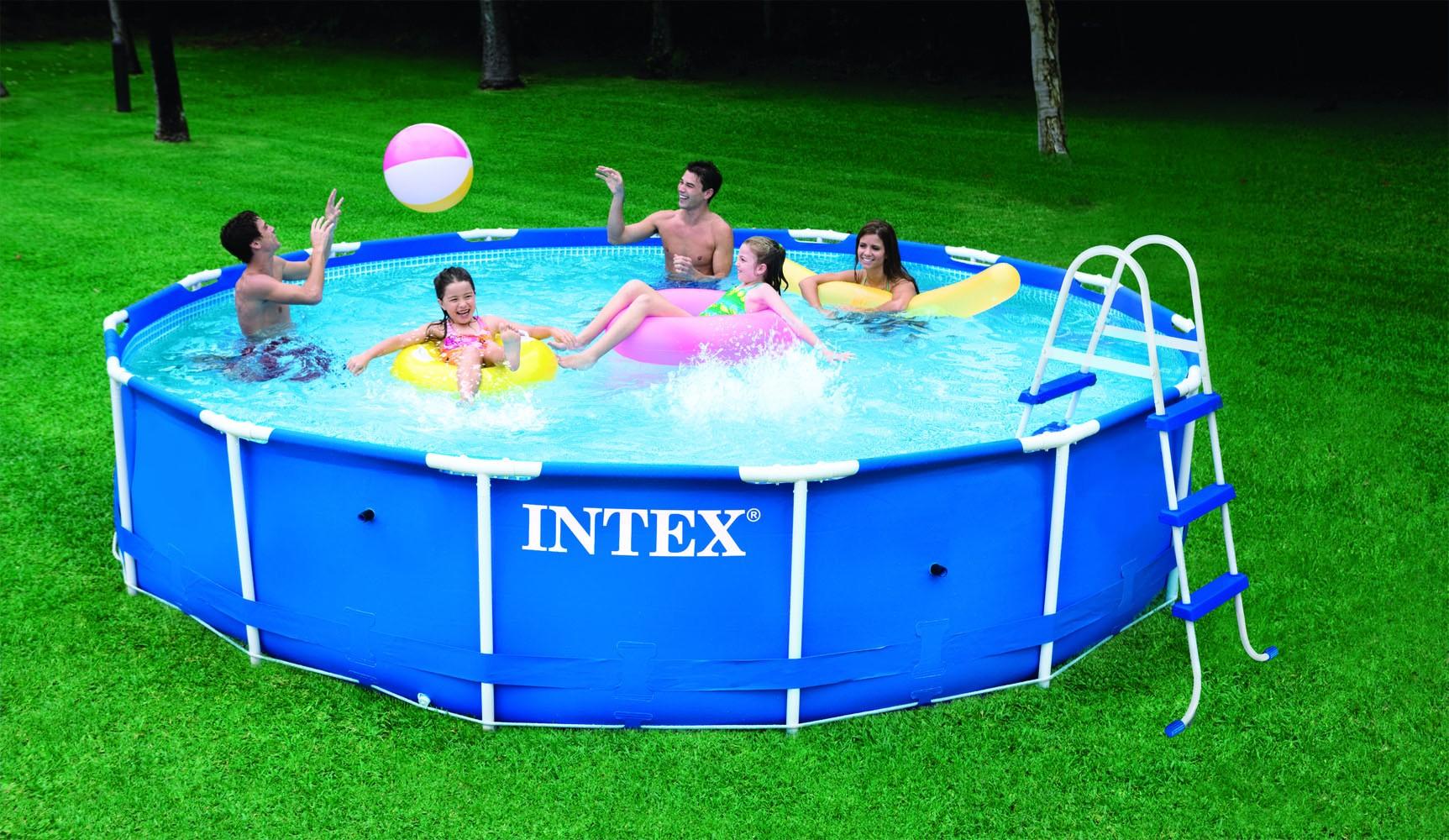 Intex metaal frame pool 457 x 91 cm set nijhuishandel for Groot opzetzwembad